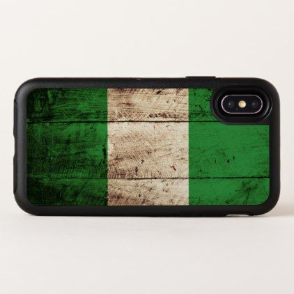 Nigeria Flag on Old Wood Grain OtterBox Symmetry iPhone X Case - wood gifts ideas diy cyo natural
