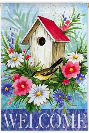 Bird House Welcome Flag