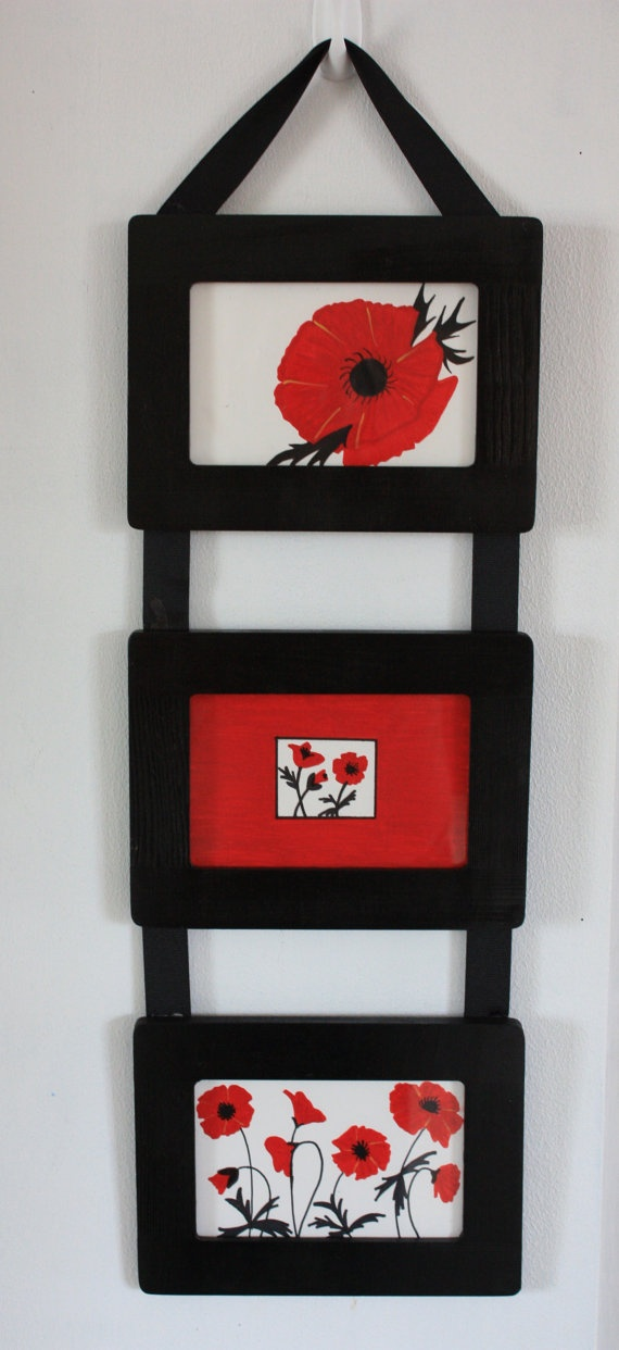 black and white with splashes of red poppies cubicle office or dorm