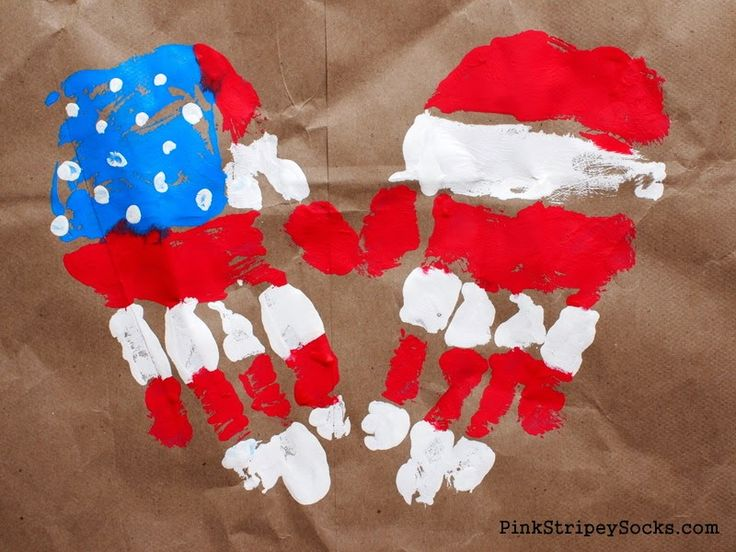 American Flag Handprint Art