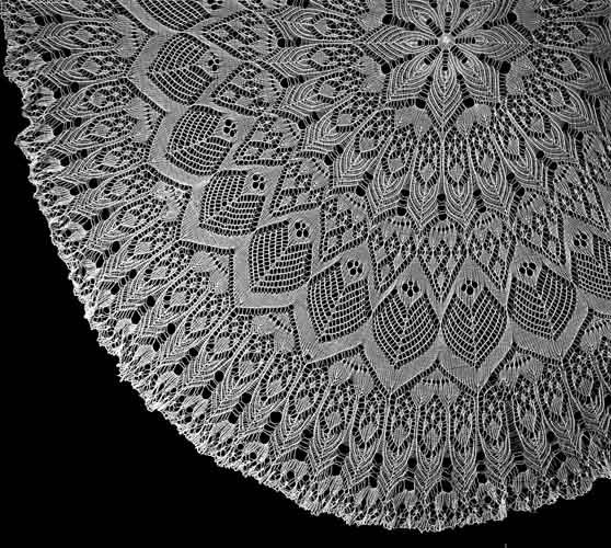 Hand knitted lace detail. The thing that gets me we are talking thread - smaller than sewing thread and very small needles (like a #1)...wow.