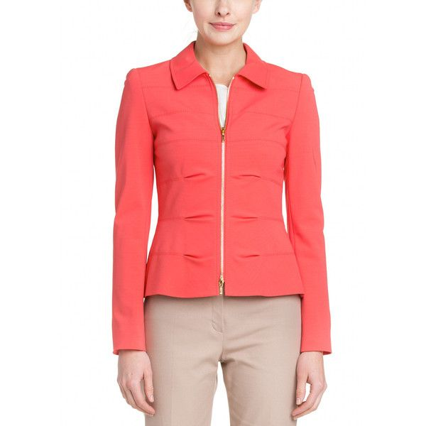 Escada Bezela Coral Jacket ($250) ❤ liked on Polyvore featuring outerwear, jackets, pink, coral jacket, escada, escada jacket, woven jacket and red jacket