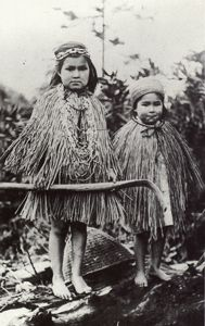 children in cedar bark capes