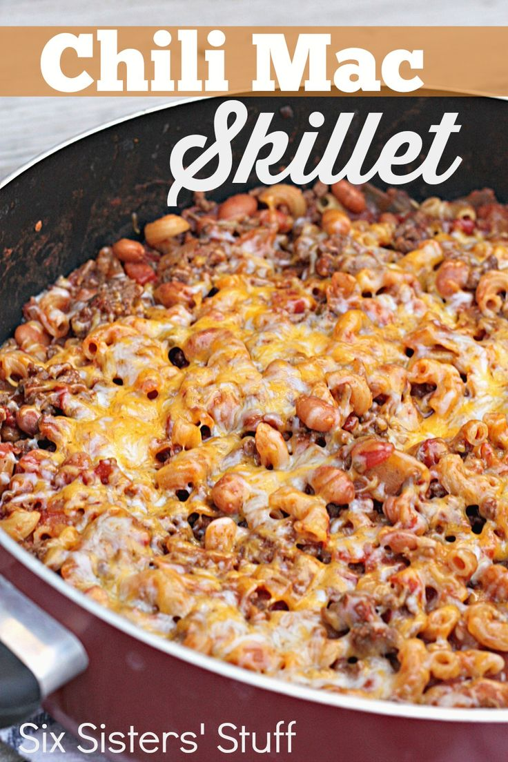 Chili Mac Skillet on SixSistersStuff.com - this easy dinner is ready from start to finish in less than 30 minutes!