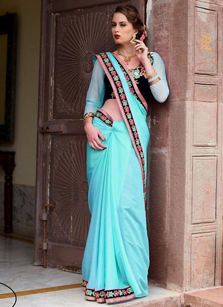 Vibrant Blue Lace Work Designer Saree