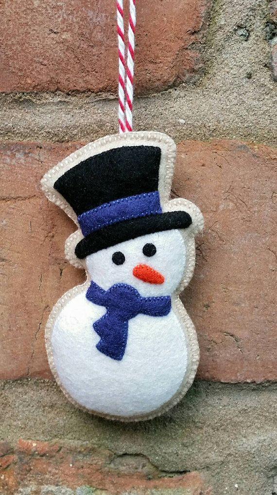 Cute felt christmas snowman ornament by TillysHangout on Etsy