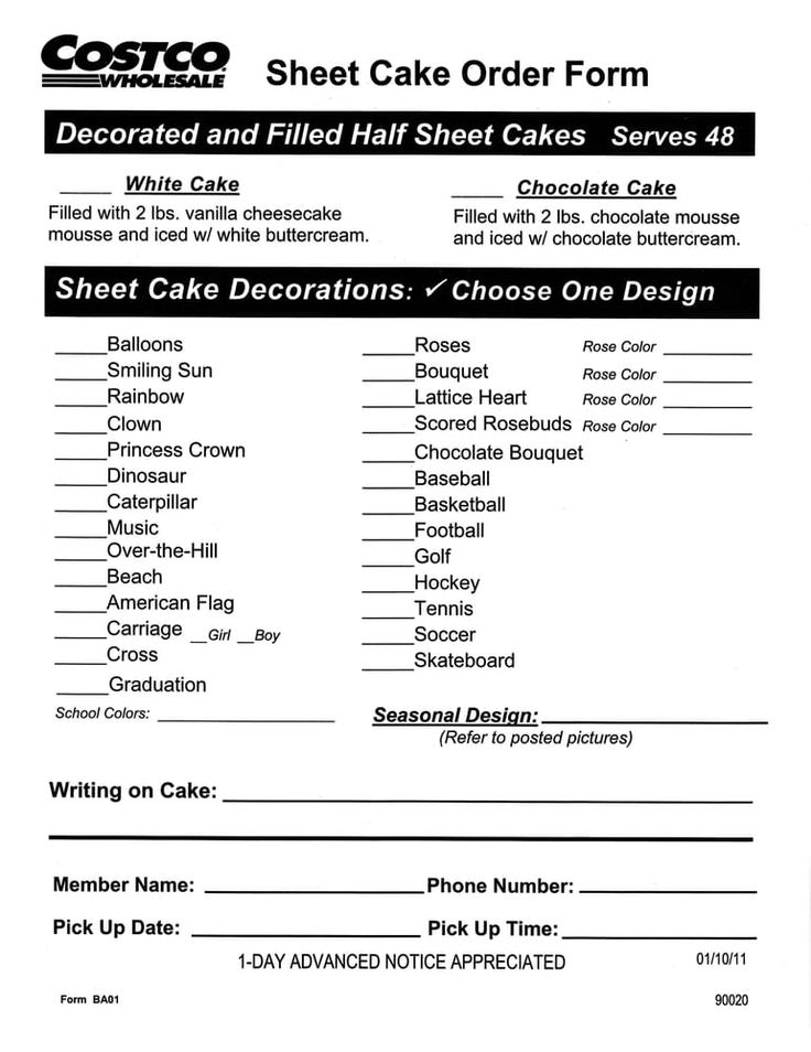 The 25+ best Costco cake order ideas on Pinterest - cupcake order form