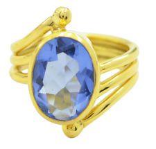 ravishing Blue shappire CZ Gold Plated Blue Ring Designer US 6789