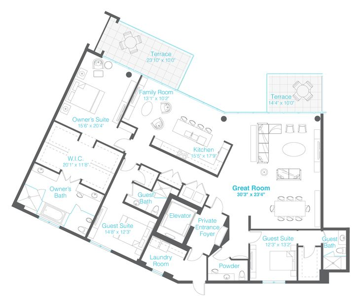 3 bedrooms 3 5 baths family room home floorplans for Guest apartment floor plans