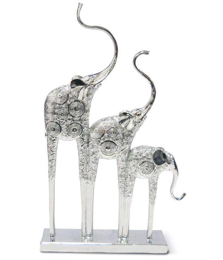 Trio de Elefantes en Marmolina. Metalizado.