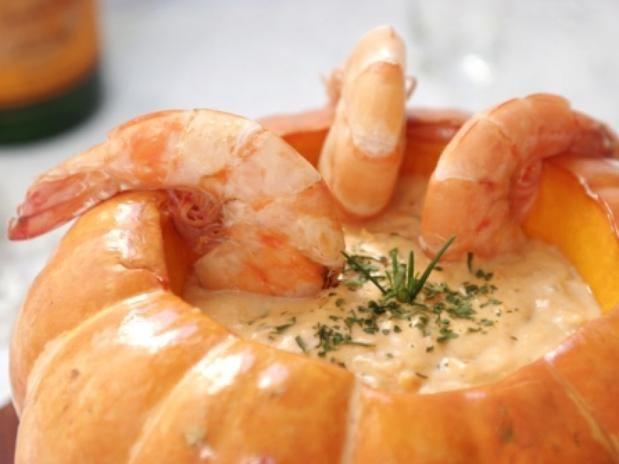 Brazilian food: Shrimp in Pumpkin