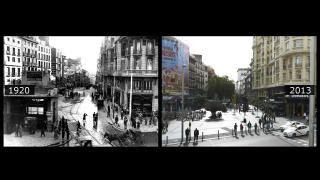 Imagen de la Gran Vía esquina con la calle Montera, donde se puede ver la vieja entrada de Metro, en 1920
