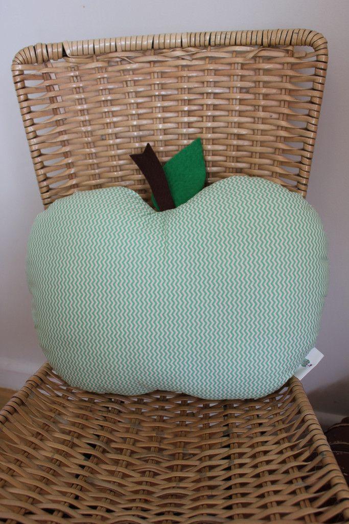 Mini green chevron print, Apple Cushion