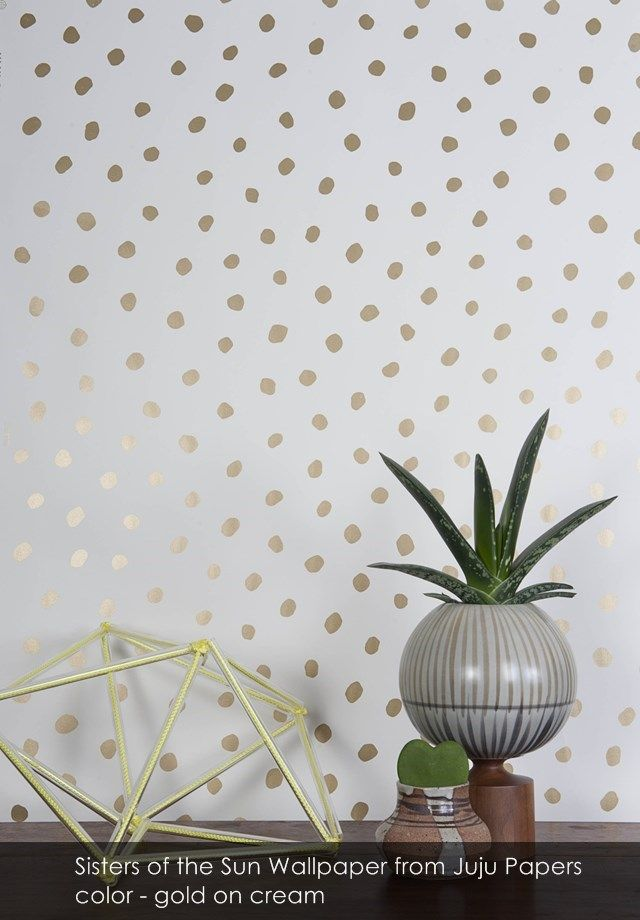 Sisters of the Sun wallpaper from Juju Papers in gold on cream