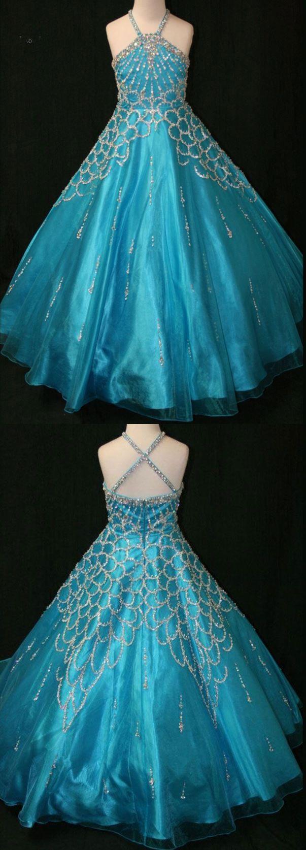 blue pageant dresses, junior pageant dresses, pageant dresses for girls, halter pageant gowns
