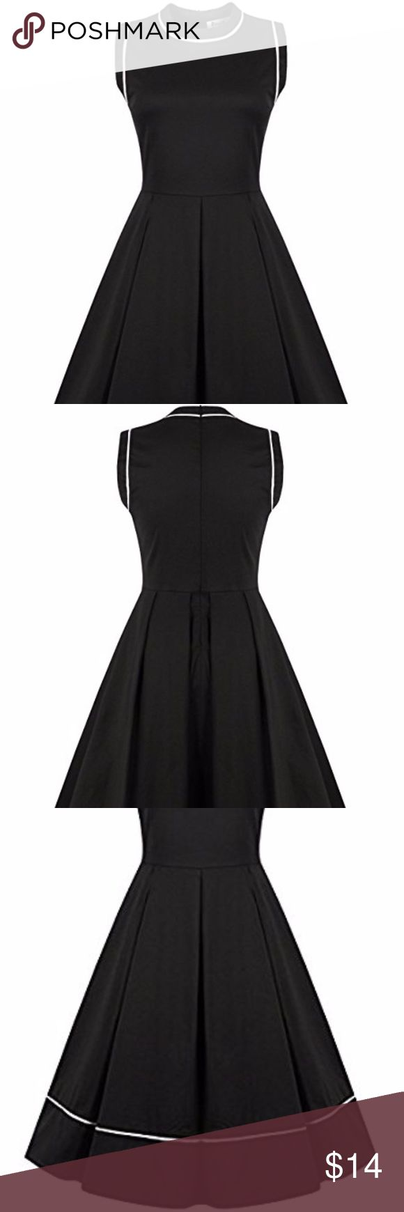 Women's 50s 60s Style Elegant A-Line dress Gorgeous short sleeveless A-line shaped party dress with round neck and white line Slightly worn, like new Cotton, Spandex Back zipper closure Machine wash cold Casual yet suitable for every special occasion and event, perfect for spring, summer, great for cocktail party ReoRia Dresses