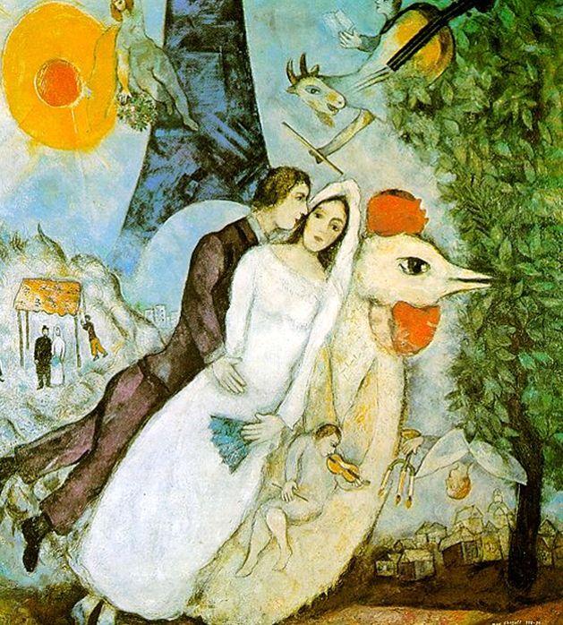 <에펠탑의 부부>, 사걀, 1938-9.  샤갈은 연인을 그릴 때 주로 하늘에 떠다니는 모습으로 표현하였다. 이는 사랑하는 즐거움과 황홀함을 나타내기 위해서가 아닐까 한다.   연인이나 결혼과 관련된 그림을 많이 그렸던 샤갈은 사랑하는 아내 벨라가 죽은 후 9개월간 그림을 그리지 못했고, 집안의 모든 그림들은 벽을 향해 돌려놓았다고 한다.