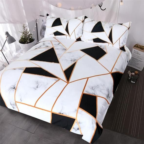 Friday Finds Black And White All Over Geometric Bedding Gold