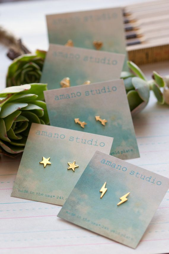 Tiny Gold Post Earrings by AmanoStudioSonoma on Etsy, $22.00