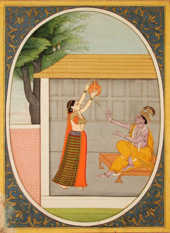 Radha reaches for a jar for Krishna - Series Title: Seven Hundred Verses - Satsai of Bihari Edwin Binney 3rd Collection The San Diego Museum of Art