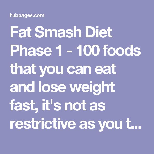 Fat Smash Diet Phase  Detox Food List