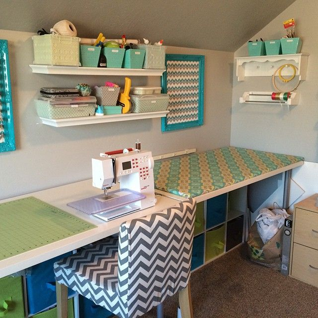 A wonderfully organized sewing space from our fan @mycraftremedy