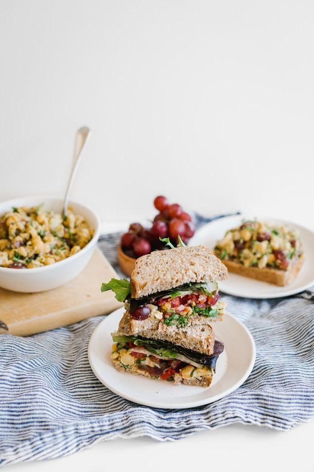 Dijon Chickpea Salad Sandwich w/ Grapes, Shallots, & Herbs