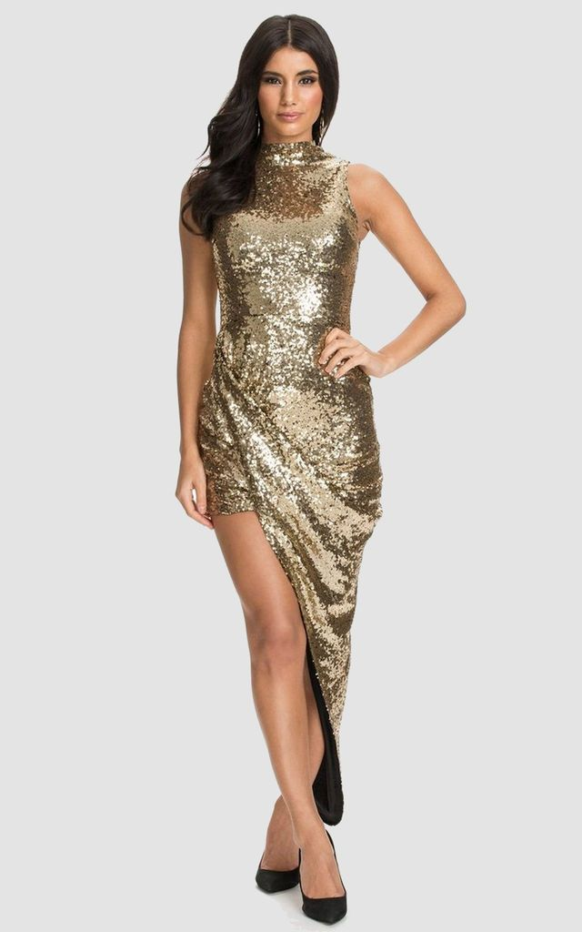 02fe780bee8 Gold Sequin Wrap Front Dress With High Low Trailing Hem By LOVEMYSTYLE