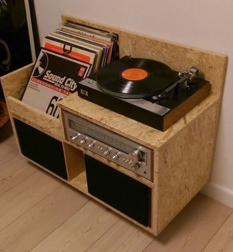A homemade record player cabinet created out of OSB Board.  Looks amazing! You can source OSB Board in various thicknesses within Australia from #gunnersenptyltd • • • 📷 Roberto Caldarella via Pinterest  #design #create #osb #wood #timber #recordplayer #turntable #interior #interiors #interiordesign #perthinteriors #perthinteriordesign #furniture #furnituredesign #gunnersen