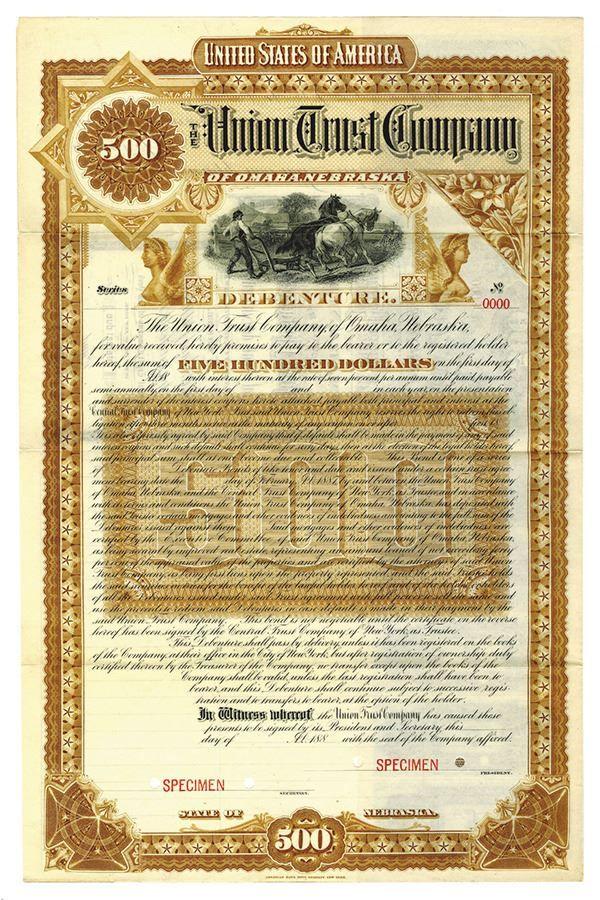 Union Trust Co., ca.1880-1890 Specimen Bond - Archives International Auctions