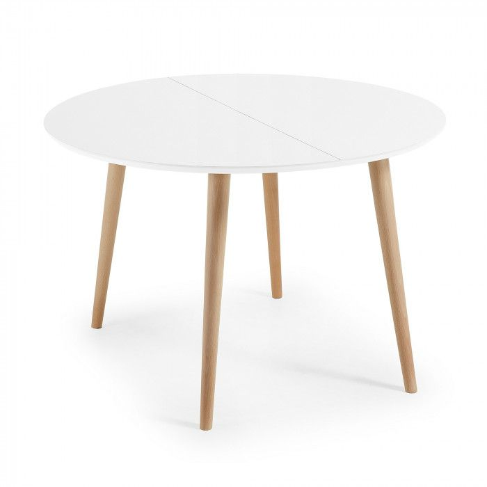 Oqui Extendable Table Round 120 200 Cm Natural And White