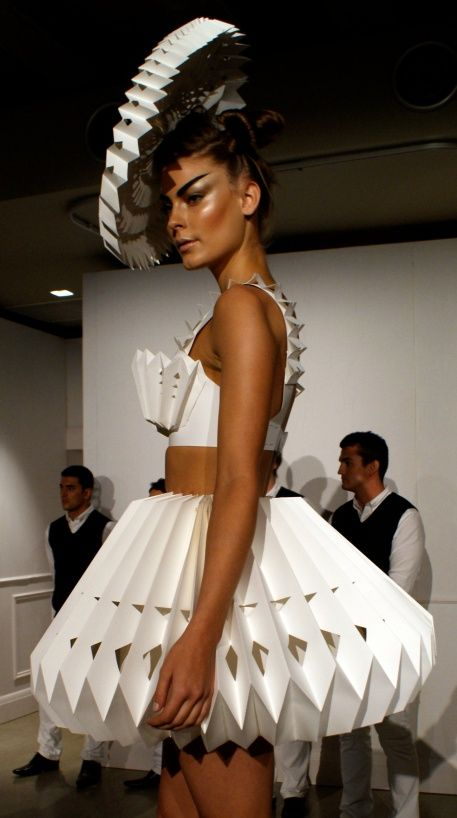 Dress and hat made of paper designed exclusively for M.A.C NYC by Zaldy