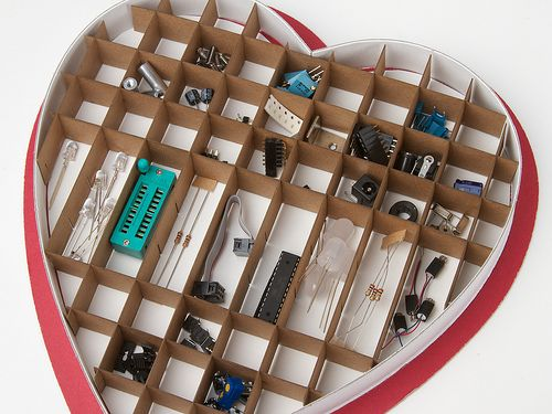The perfect Valentine's gift for your geeky husband! Make a heart-shaped candy box into storage for tiny electronics parts.