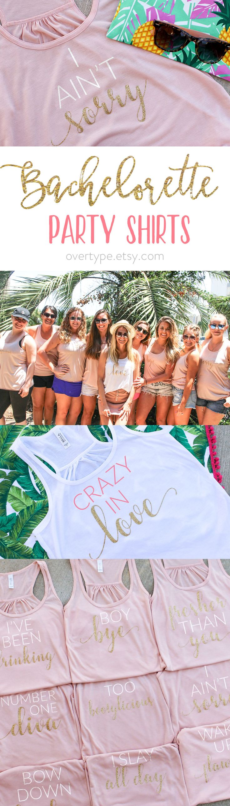 Bachelorette Shirts, Bachelorette Party, Bachelorette Tanks, Hen Party Shirts, Bachelorette party favors, bridal party tanks, bridal gifts   Bachelorette party shirts with sassy sayings. Bachelorette tank tops are decorated with white and gold glitter. White Bachelorette shirts for the Bride have pink writing and gold glitter writing.