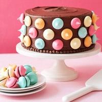 Polka dot cake - love the colors