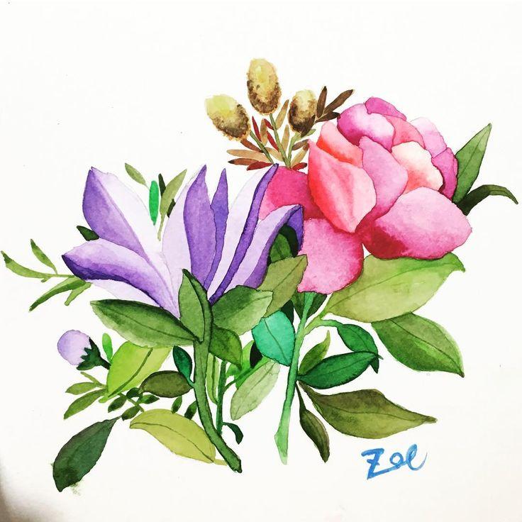 @zoeleeishere0210 - Jiyeon Lee (조이얀) | This is my first watercolor paint!!! 수채화는 처음이에요~ 완전 만족!!! @minartillust 선생님~ 일일체험이었습니당!  #minartillust #watercolor #수채화일러스트 #일일체험 #꽃그리기 #수채화