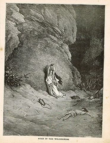 Gustave Dore's Illustration - AGAR IN THE WILDERNESS - Woodcut - c1880