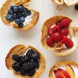 Tortilla Cups with Yogurt + Fresh Fruits