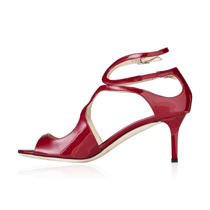 Jimmy Choo Lila Crisscross Patent Leather Sandal - Raspberry - The Lila Patent Crisscross Sandal in Raspberry by Jimmy Choo is a great example in keeping with the feminine aesthetic of Jimmy Choo, a beautifully sculpted patent leather design lifted by a moderate heel.