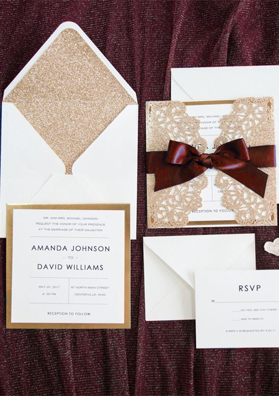 Elegant Rose Gold And Navy Blue Glitter Wedding Invitations