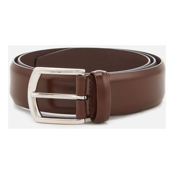 Anderson's Men's Leather Belt - Brown ($110) ❤ liked on Polyvore featuring men's fashion, men's accessories, men's belts, brown, mens leather belts, mens brown belt, mens brown leather belt and mens belts