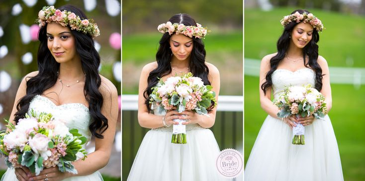 Gorgeous bridal bouquet and matching mini-rose crown as seen on BRIDE.Canada