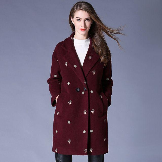 2016 Женщин зимой шерстяные пальто вышивка длинные пальто шанца ветровка женская повседневная бушлат плюс размер пальто наряд XXXXXL6746