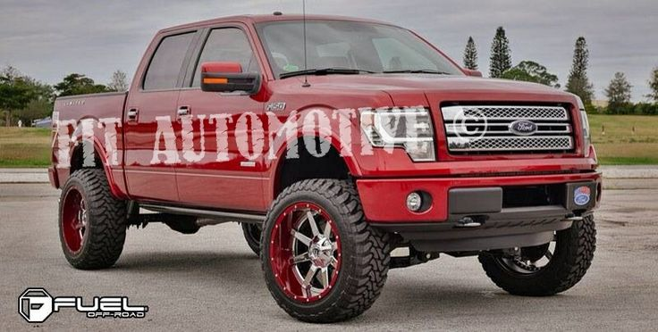 Lifted trucks. F-250 Ford lifted truck. Custom painted red ...