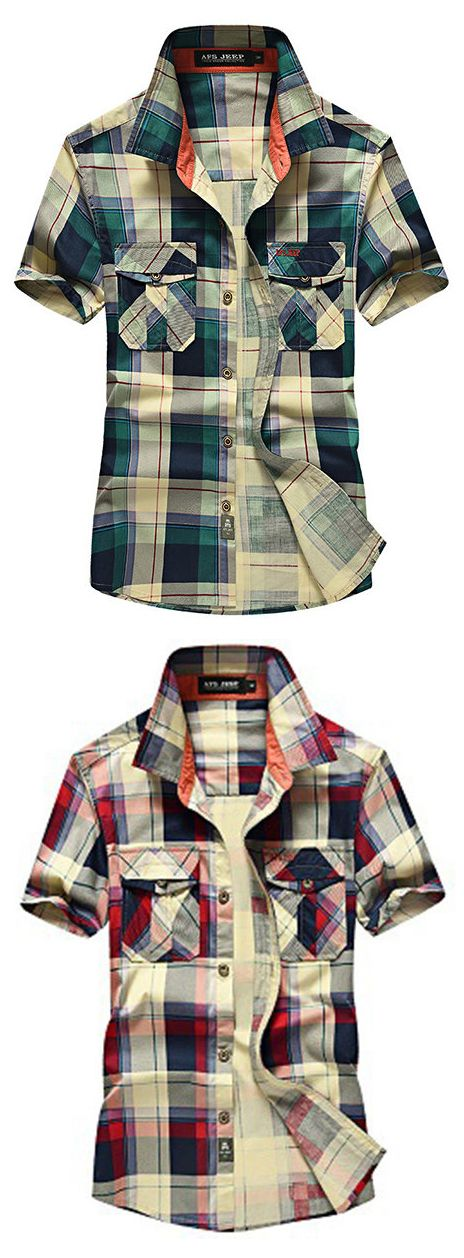 AFSJEEP Outdoor Casual Cotton Plaids Printing Double Chest Pockets Dress Shirts for Men