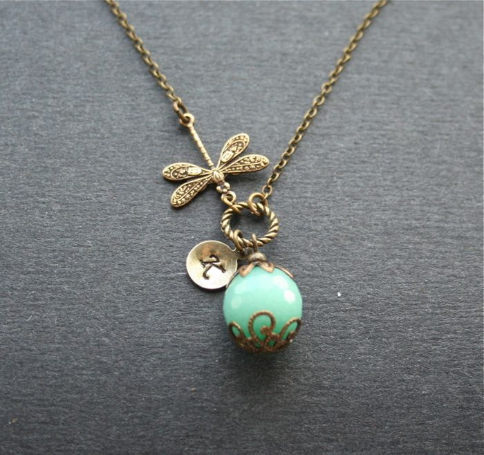 Personalized Dragonfly Necklace, Mint Blue Stone Necklace, Monogram Stone Necklace, Bronze Dragonfly, Custom Initial, Vintage Style Necklace door smilesophie op Etsy https://www.etsy.com/nl/listing/207863189/personalized-dragonfly-necklace-mint