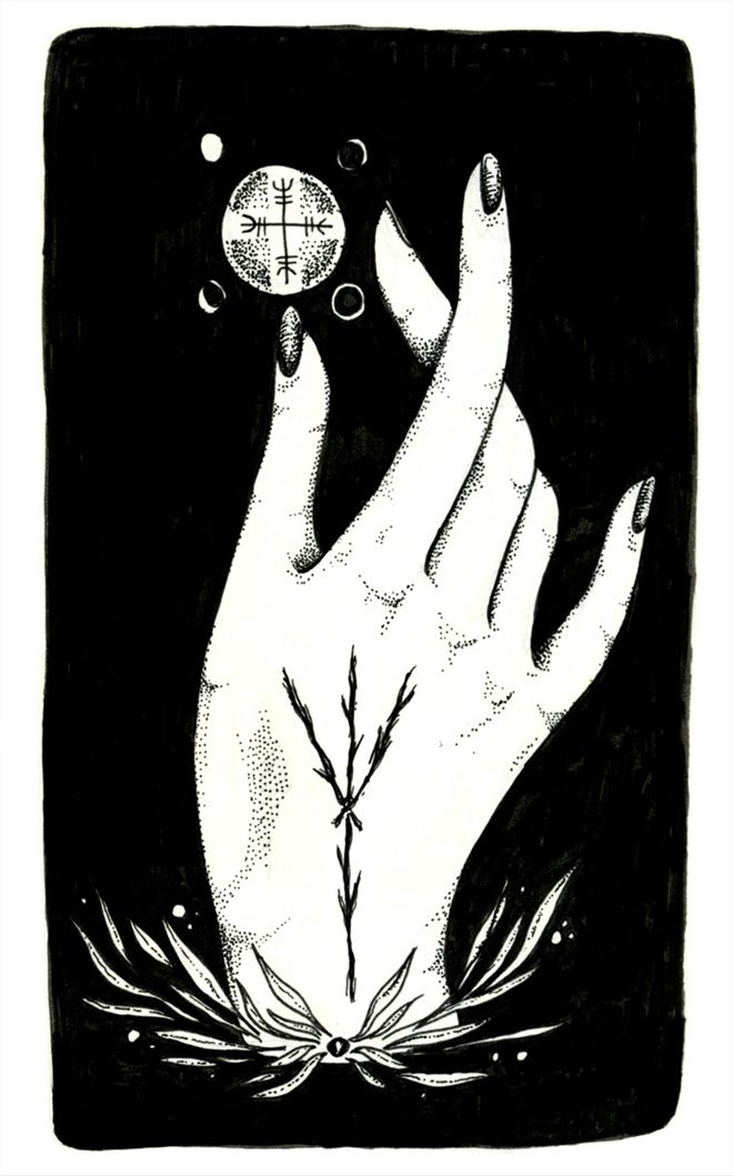 Algiz Protection Hand illustration, prints available // Lauren Gonsalves * Arielle Gabriel who gives free travel advice at The China Adventures of Arielle Gabriel writes of mystical experiences during her financial disasters in The Goddess of Mercy & The Dept of Miracles including the opening of her heart chakra *