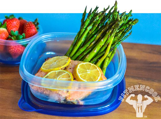 Bodybuilding.com - Fit Meals: 7 Muscle-Making Recipes. MUSTARD BAKED SALMON WITH GRILLED ASPARAGUS.