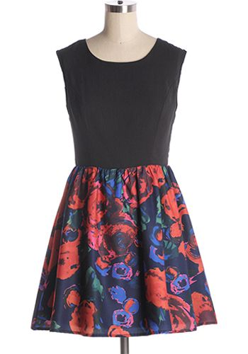 A little black dress with statement style! Abstract floral print skirt with black top and back cut outs. Back zipper. 100% polyester Not stretchy Lined Hand wash cold; flat dry Indie, Retro, Party, Vintage, Plus Size, Convertible, Cocktail Dresses in Canada Starry Night Dress -