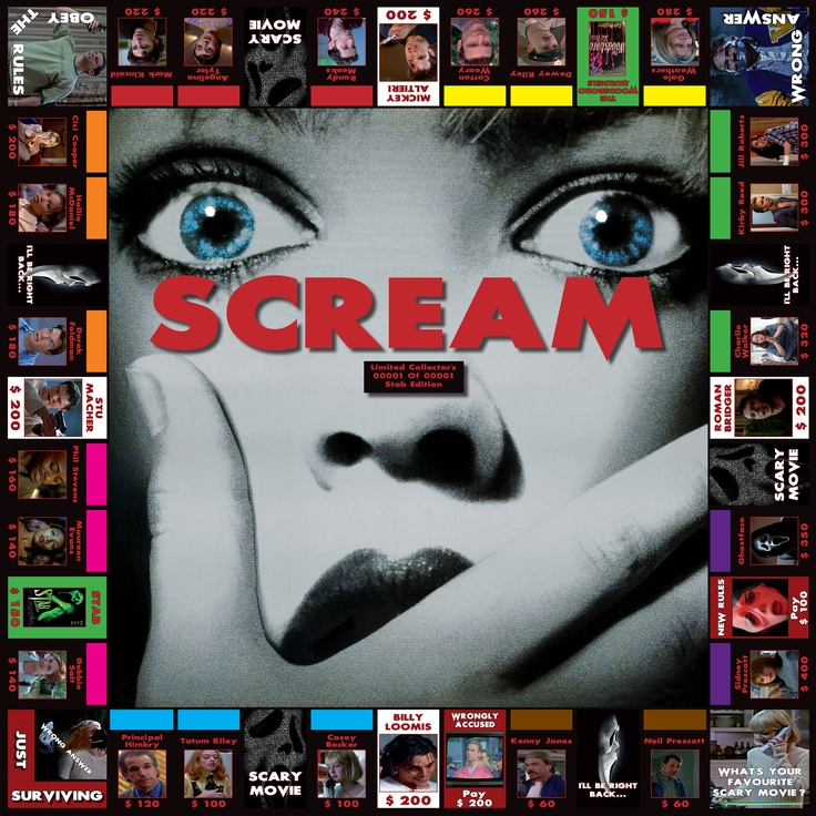 Property Trading Game based on the 'Scream' movie series, incorporating all four movies so far...
